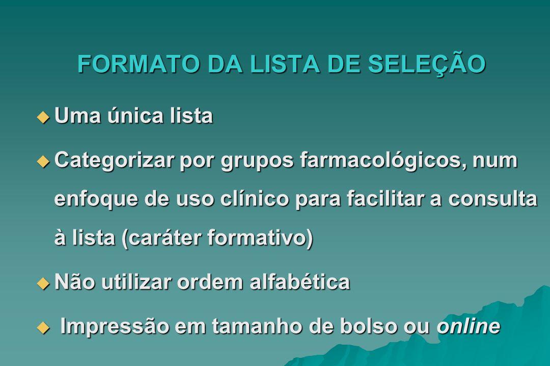 FORMATO DA LISTA DE SELEÇÃO Uma única lista Uma única lista Categorizar por grupos farmacológicos, num enfoque de uso clínico para facilitar a consult