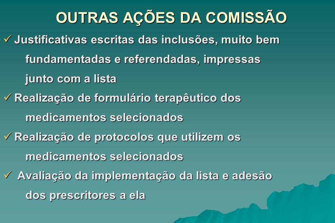 OUTRAS AÇÕES DA COMISSÃO Justificativas escritas das inclusões, muito bem Justificativas escritas das inclusões, muito bem fundamentadas e referendada