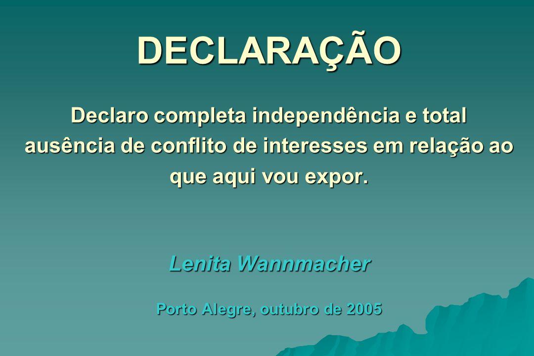 DECLARAÇÃO Declaro completa independência e total ausência de conflito de interesses em relação ao que aqui vou expor. Lenita Wannmacher Porto Alegre,