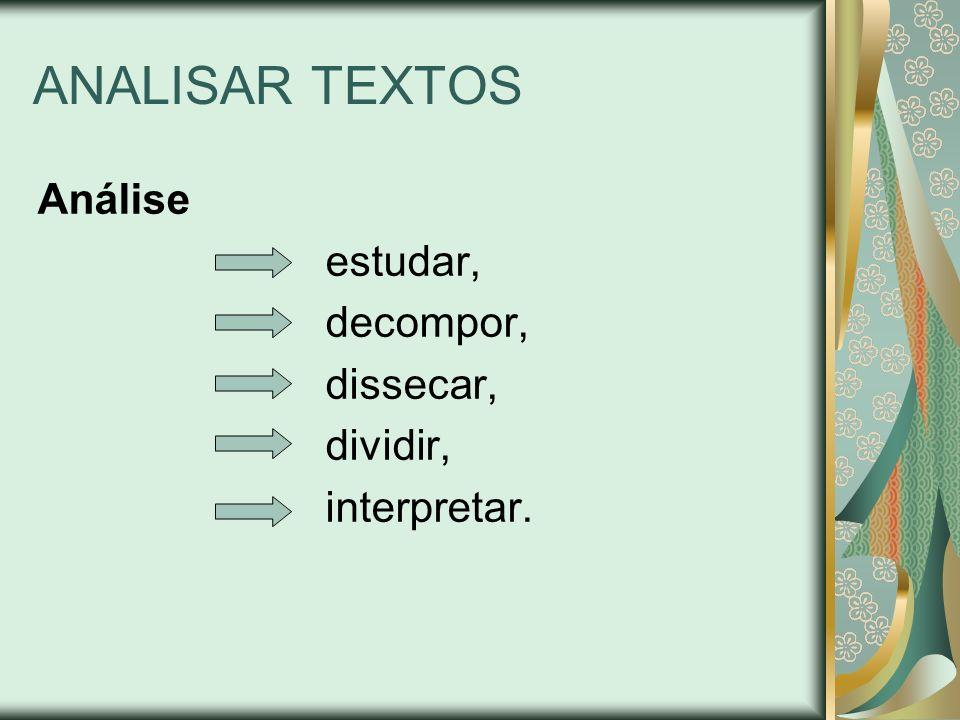 ANALISAR TEXTOS Análise estudar, decompor, dissecar, dividir, interpretar.