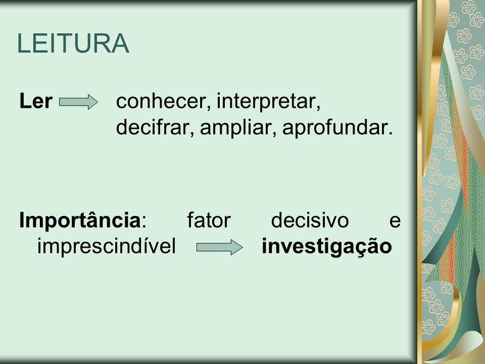 LEITURA Ler conhecer, interpretar, decifrar, ampliar, aprofundar. Importância: fator decisivo e imprescindível investigação