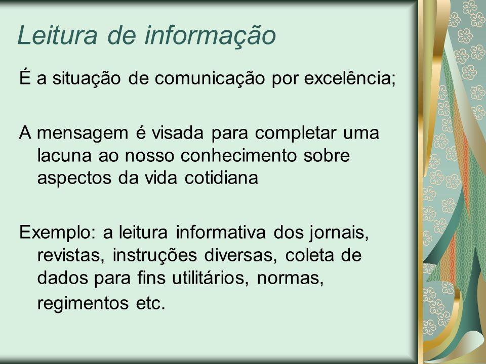 Leitura de informação É a situação de comunicação por excelência; A mensagem é visada para completar uma lacuna ao nosso conhecimento sobre aspectos d