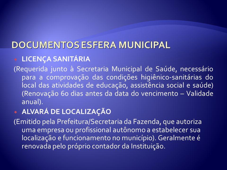 LICENÇA SANITÁRIA (Requerida junto à Secretaria Municipal de Saúde, necessário para a comprovação das condições higiênico-sanitárias do local das ativ
