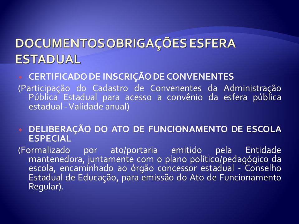 CERTIFICADO DE INSCRIÇÃO DE CONVENENTES (Participação do Cadastro de Convenentes da Administração Pública Estadual para acesso a convênio da esfera pú
