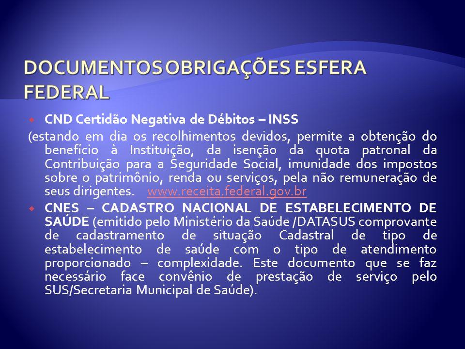 CND Certidão Negativa de Débitos – INSS (estando em dia os recolhimentos devidos, permite a obtenção do benefício à Instituição, da isenção da quota p