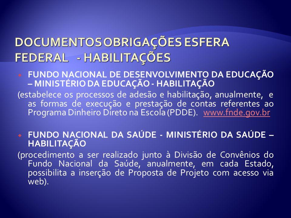 FUNDO NACIONAL DE DESENVOLVIMENTO DA EDUCAÇÃO – MINISTÉRIO DA EDUCAÇÃO - HABILITAÇÃO (estabelece os processos de adesão e habilitação, anualmente, e a