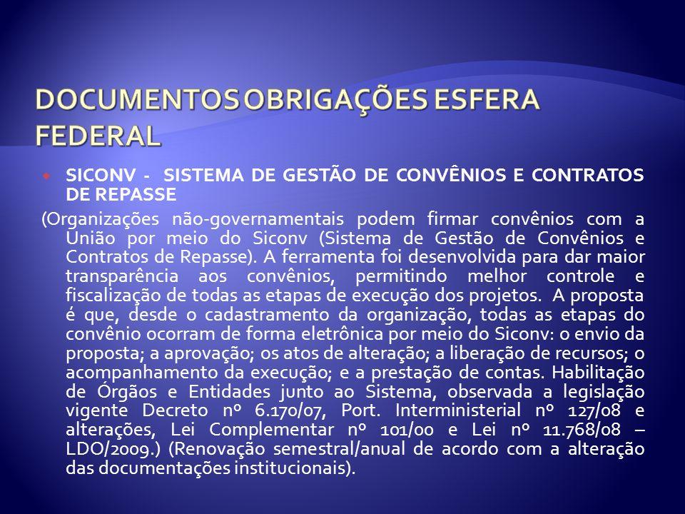 SICONV - SISTEMA DE GESTÃO DE CONVÊNIOS E CONTRATOS DE REPASSE (Organizações não-governamentais podem firmar convênios com a União por meio do Siconv