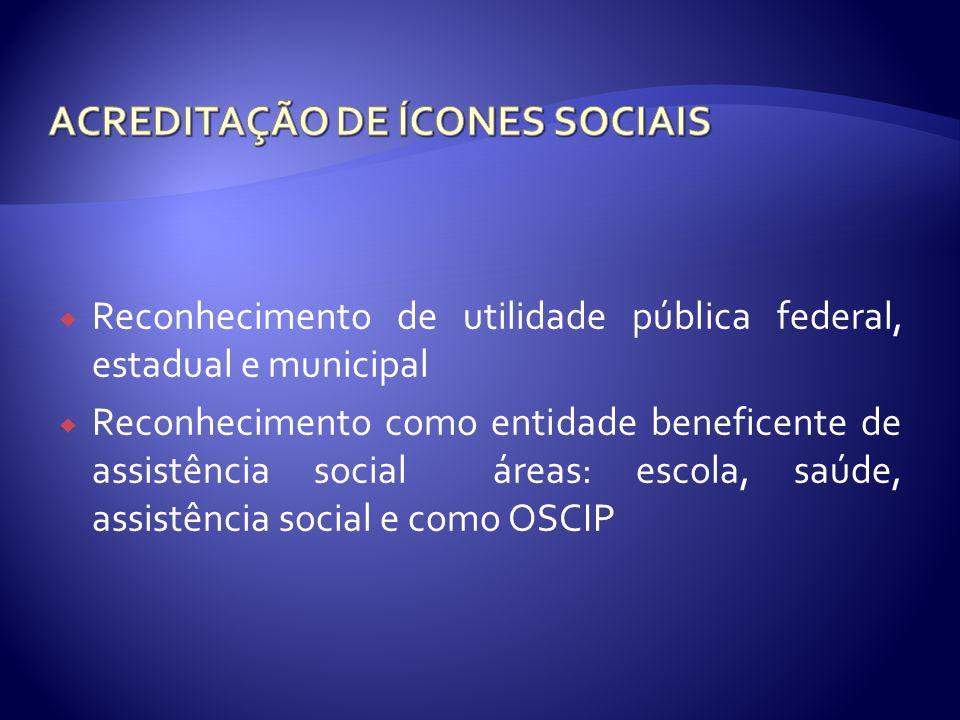 Reconhecimento de utilidade pública federal, estadual e municipal Reconhecimento como entidade beneficente de assistência social áreas: escola, saúde,