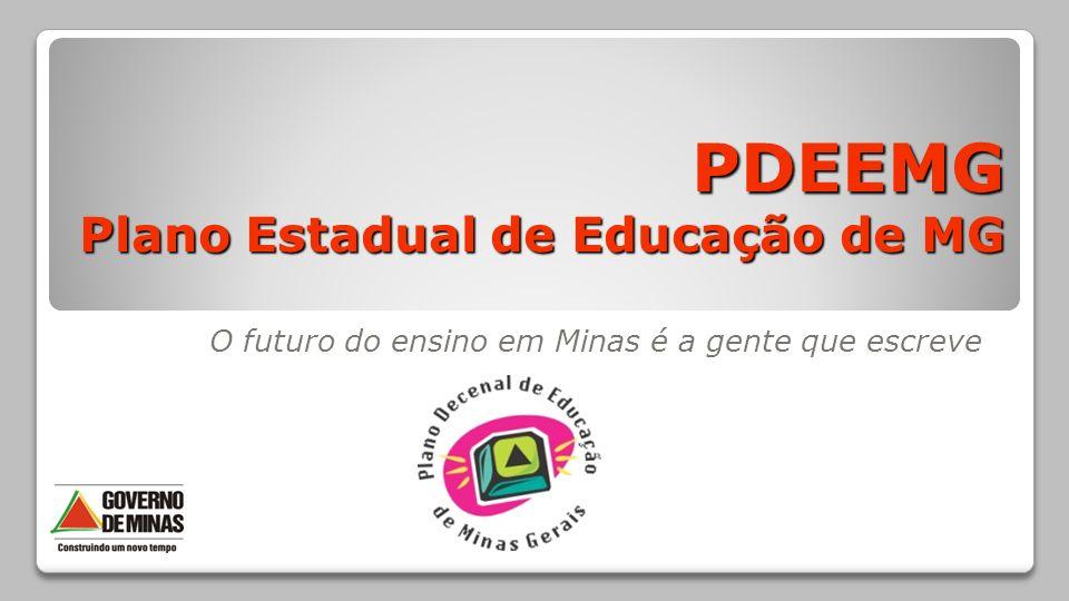 PDEEMG Plano Estadual de Educação de MG O futuro do ensino em Minas é a gente que escreve