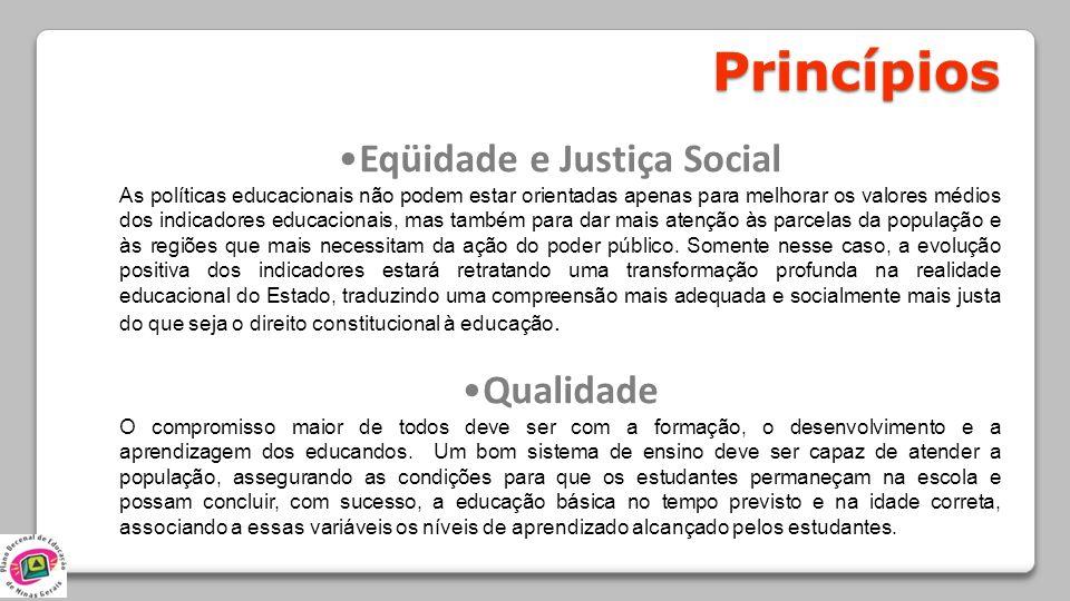 Princípios Eqüidade e Justiça Social As políticas educacionais não podem estar orientadas apenas para melhorar os valores médios dos indicadores educa