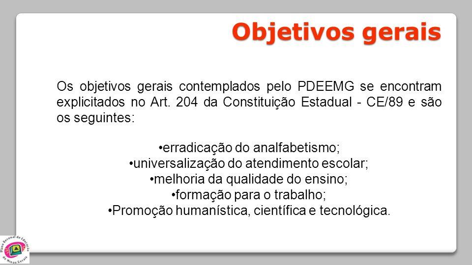 Objetivos gerais Os objetivos gerais contemplados pelo PDEEMG se encontram explicitados no Art. 204 da Constituição Estadual - CE/89 e são os seguinte