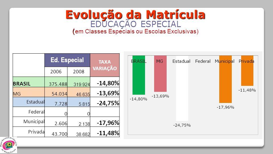 Evolução da Matrícula EDUCAÇÃO ESPECIAL ( ( em Classes Especiais ou Escolas Exclusivas) Ed. Especial TAXA VARIAÇÃO 20062008 BRASIL 375.488 319.924 -14