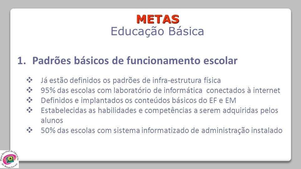 METAS Educação Básica 1.Padrões básicos de funcionamento escolar Já estão definidos os padrões de infra-estrutura física 95% das escolas com laboratór