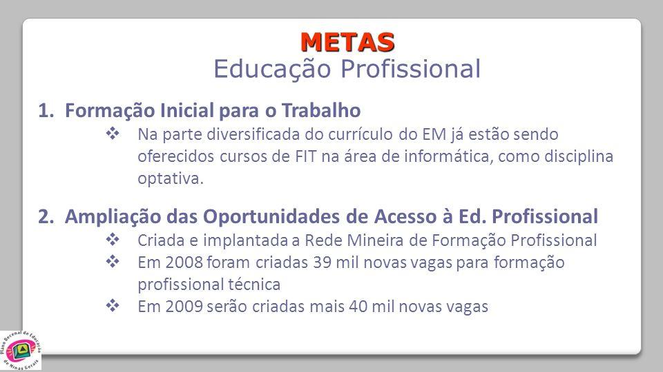 METAS Educação Profissional 1. Formação Inicial para o Trabalho Na parte diversificada do currículo do EM já estão sendo oferecidos cursos de FIT na á