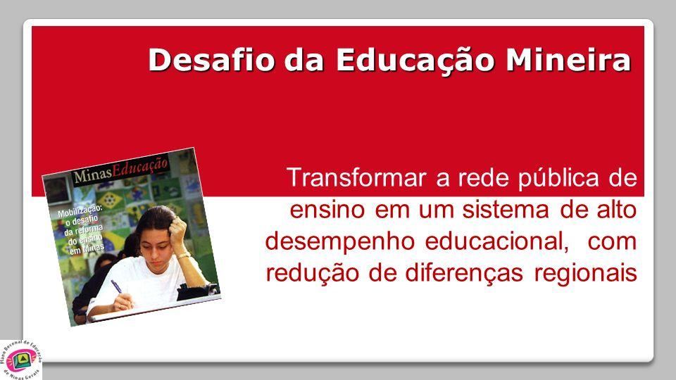 Desafio da Educação Mineira Transformar a rede pública de ensino em um sistema de alto desempenho educacional, com redução de diferenças regionais