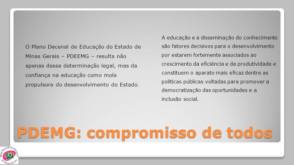 PDEMG: compromisso de todos O Plano Decenal de Educação do Estado de Minas Gerais – PDEEMG – resulta não apenas dessa determinação legal, mas da confi