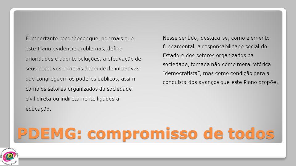 PDEMG: compromisso de todos É importante reconhecer que, por mais que este Plano evidencie problemas, defina prioridades e aponte soluções, a efetivaç