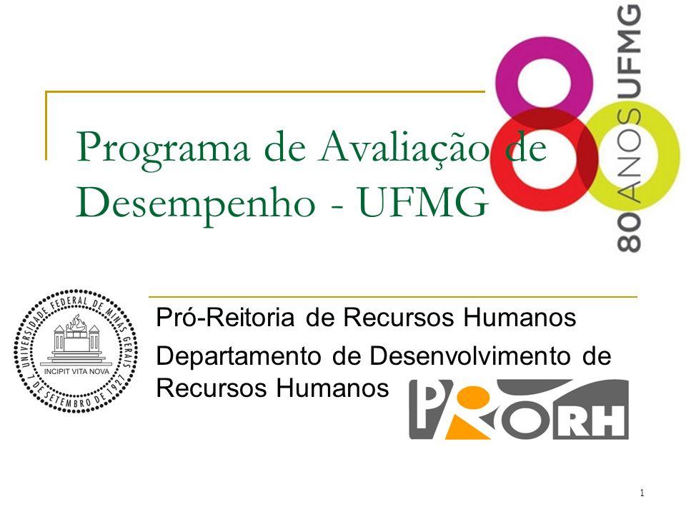 1 Programa de Avaliação de Desempenho - UFMG Pró-Reitoria de Recursos Humanos Departamento de Desenvolvimento de Recursos Humanos