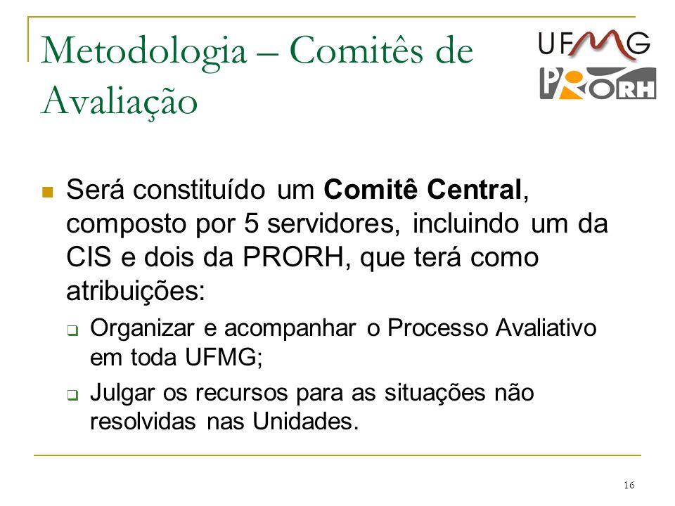 16 Metodologia – Comitês de Avaliação Será constituído um Comitê Central, composto por 5 servidores, incluindo um da CIS e dois da PRORH, que terá com