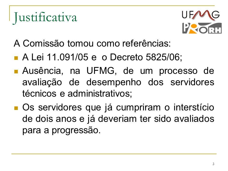 3 Justificativa A Comissão tomou como referências: A Lei 11.091/05 e o Decreto 5825/06; Ausência, na UFMG, de um processo de avaliação de desempenho d