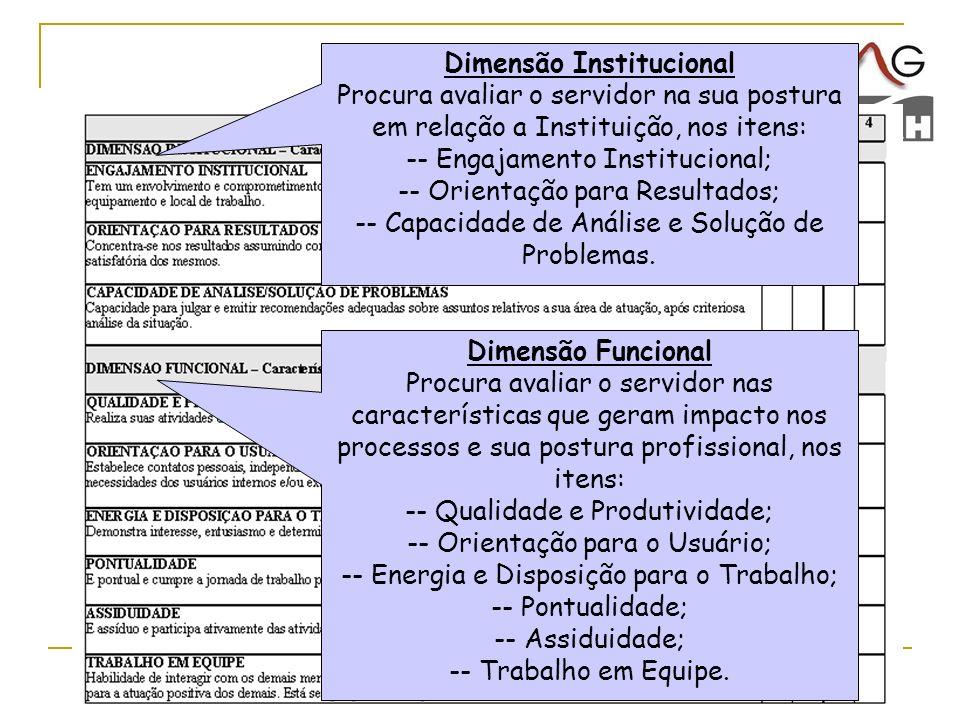 31 Dimensão Institucional Procura avaliar o servidor na sua postura em relação a Instituição, nos itens: -- Engajamento Institucional; -- Orientação p