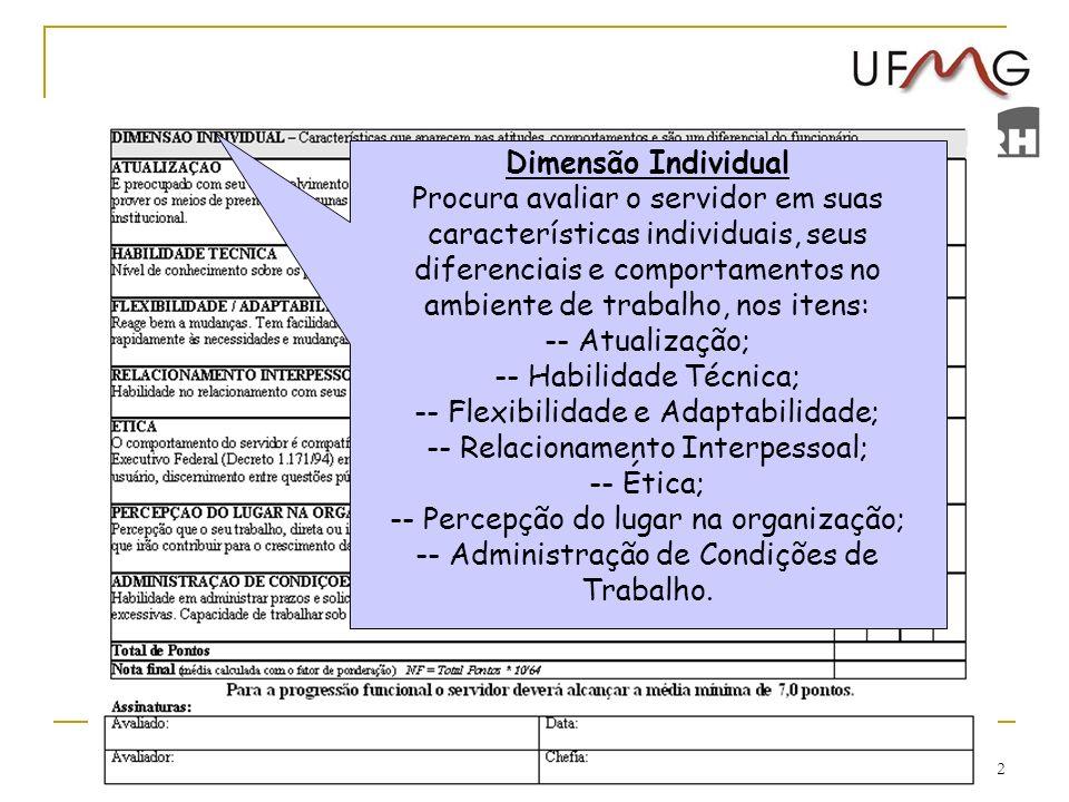 32 Dimensão Individual Procura avaliar o servidor em suas características individuais, seus diferenciais e comportamentos no ambiente de trabalho, nos
