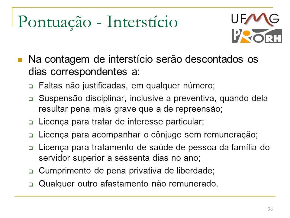 36 Pontuação - Interstício Na contagem de interstício serão descontados os dias correspondentes a: Faltas não justificadas, em qualquer número; Suspen