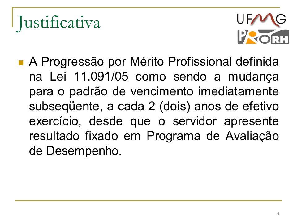 4 Justificativa A Progressão por Mérito Profissional definida na Lei 11.091/05 como sendo a mudança para o padrão de vencimento imediatamente subseqüe