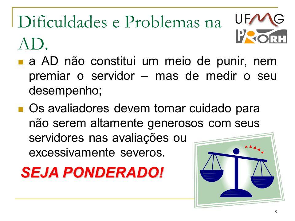 9 Dificuldades e Problemas na AD. a AD não constitui um meio de punir, nem premiar o servidor – mas de medir o seu desempenho; Os avaliadores devem to