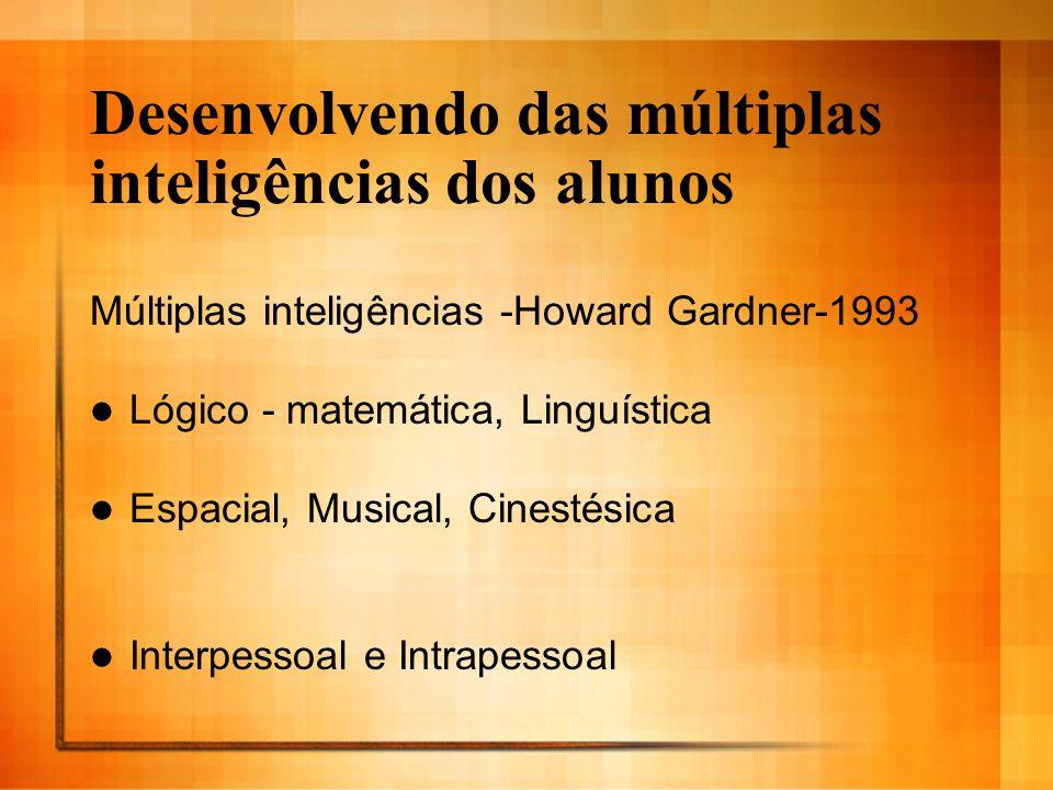 Desenvolvendo das múltiplas inteligências dos alunos Múltiplas inteligências -Howard Gardner-1993 Lógico - matemática, Linguística Espacial, Musical,