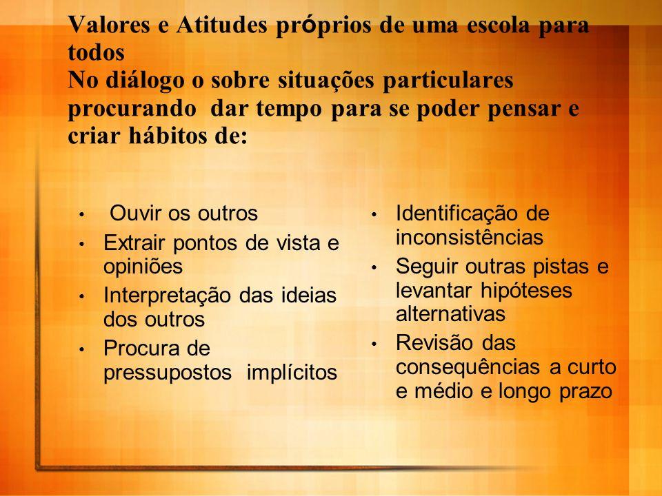 Valores e Atitudes pr ó prios de uma escola para todos No diálogo o sobre situações particulares procurando dar tempo para se poder pensar e criar háb