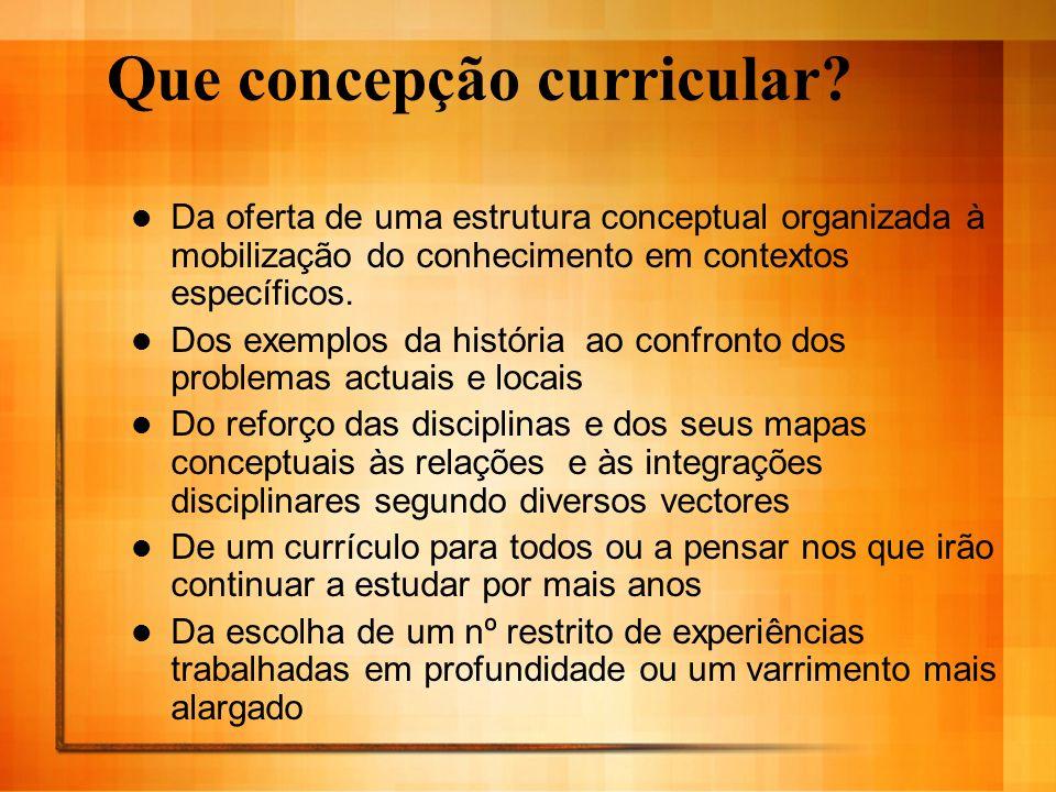 Que concepção curricular? Da oferta de uma estrutura conceptual organizada à mobilização do conhecimento em contextos específicos. Dos exemplos da his