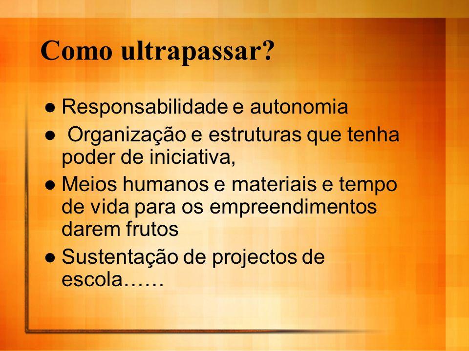 Como ultrapassar? Responsabilidade e autonomia Organização e estruturas que tenha poder de iniciativa, Meios humanos e materiais e tempo de vida para