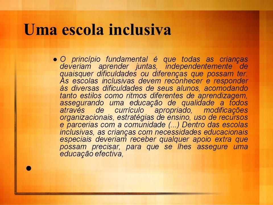 Uma escola inclusiva O princípio fundamental é que todas as crianças deveriam aprender juntas, independentemente de quaisquer dificuldades ou diferenç