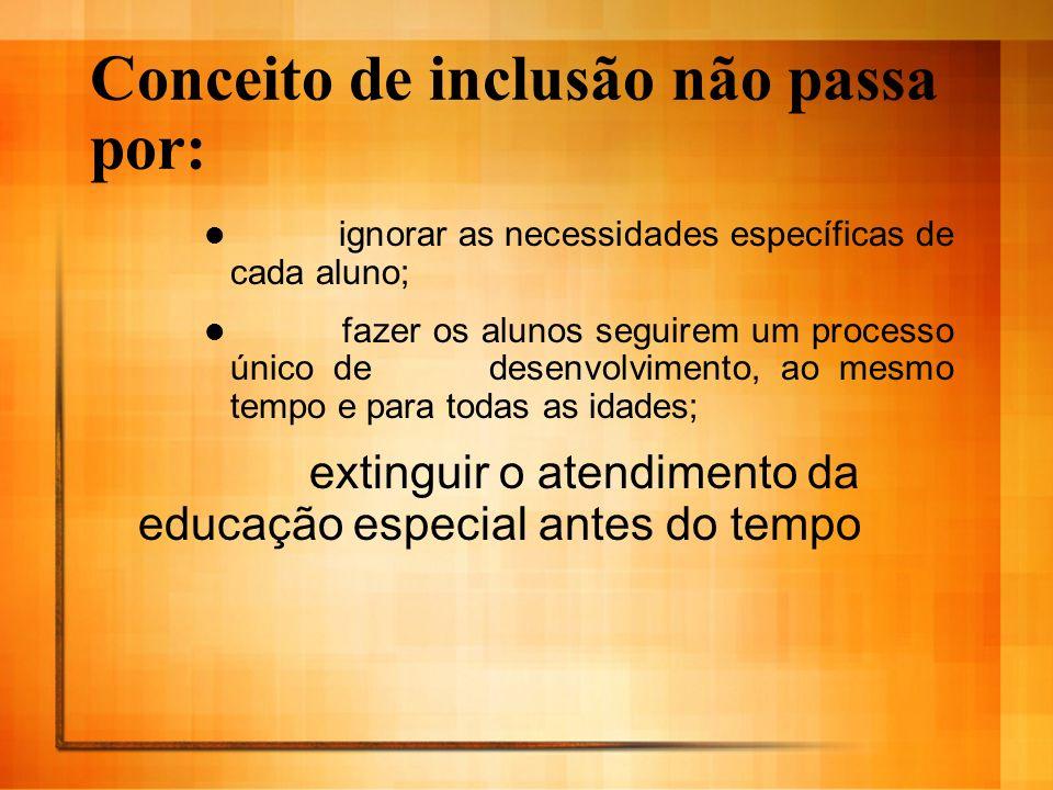 Conceito de inclusão não passa por: ignorar as necessidades específicas de cada aluno; fazer os alunos seguirem um processo único de desenvolvimento,