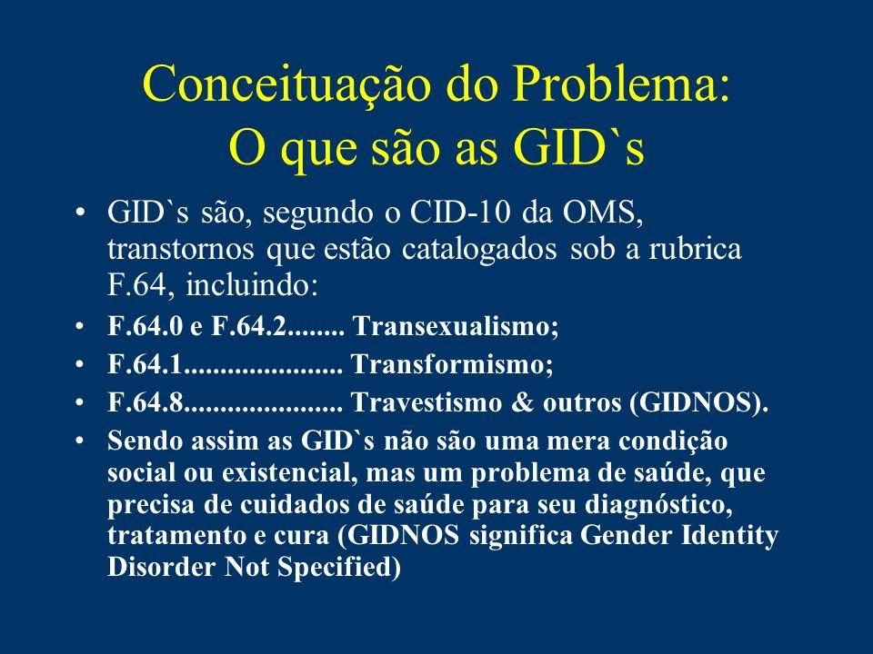 Conceituação do Problema: O que são as GID`s GID`s são, segundo o CID-10 da OMS, transtornos que estão catalogados sob a rubrica F.64, incluindo: F.64
