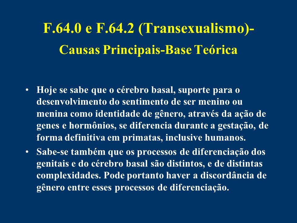F.64.0 e F.64.2 (Transexualismo)- Causas Principais-Base Teórica Hoje se sabe que o cérebro basal, suporte para o desenvolvimento do sentimento de ser