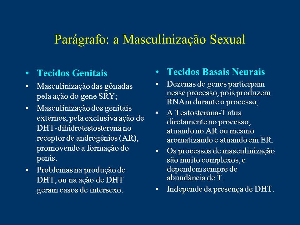 Parágrafo: a Masculinização Sexual Tecidos Genitais Masculinização das gônadas pela ação do gene SRY; Masculinização dos genitais externos, pela exclu