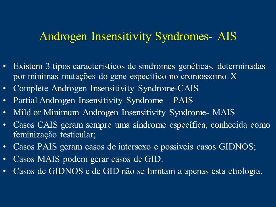 Androgen Insensitivity Syndromes- AIS Existem 3 tipos característicos de síndromes genéticas, determinadas por mínimas mutações do gene específico no