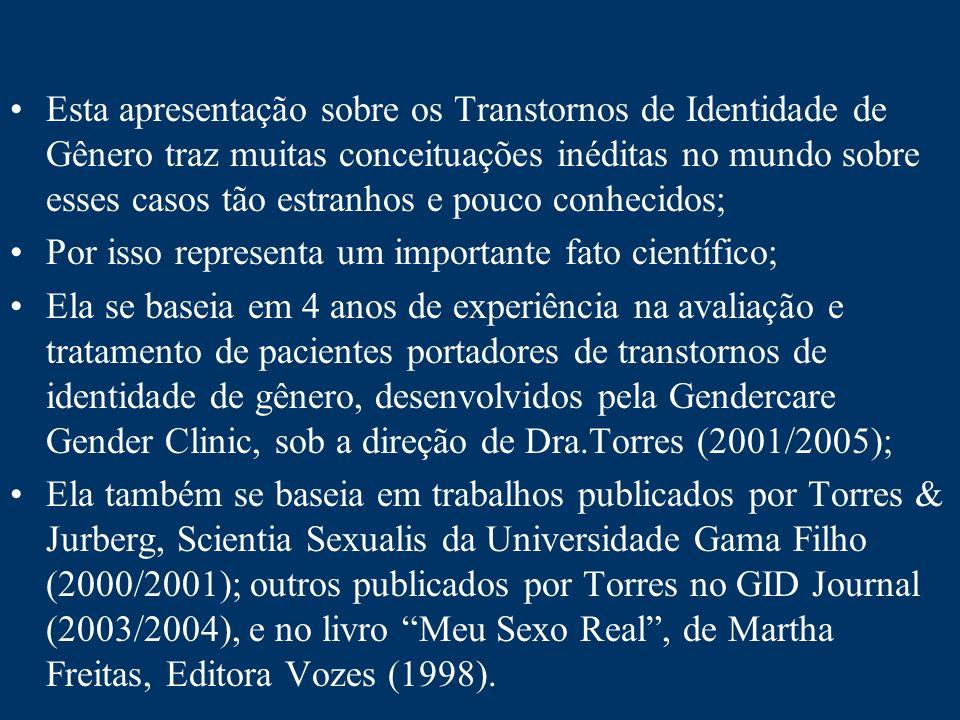 Esta apresentação sobre os Transtornos de Identidade de Gênero traz muitas conceituações inéditas no mundo sobre esses casos tão estranhos e pouco con