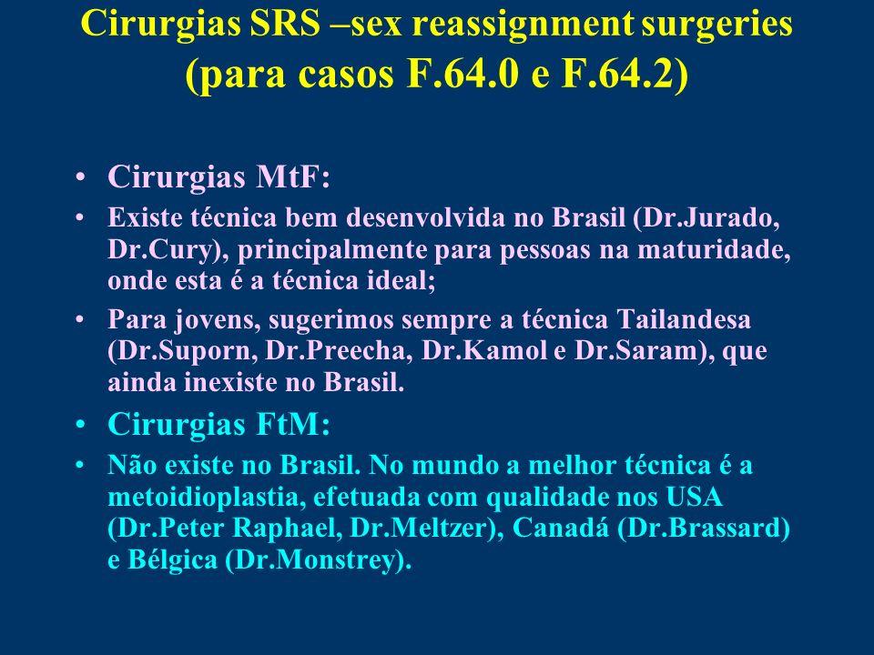 Cirurgias SRS –sex reassignment surgeries (para casos F.64.0 e F.64.2) Cirurgias MtF: Existe técnica bem desenvolvida no Brasil (Dr.Jurado, Dr.Cury),