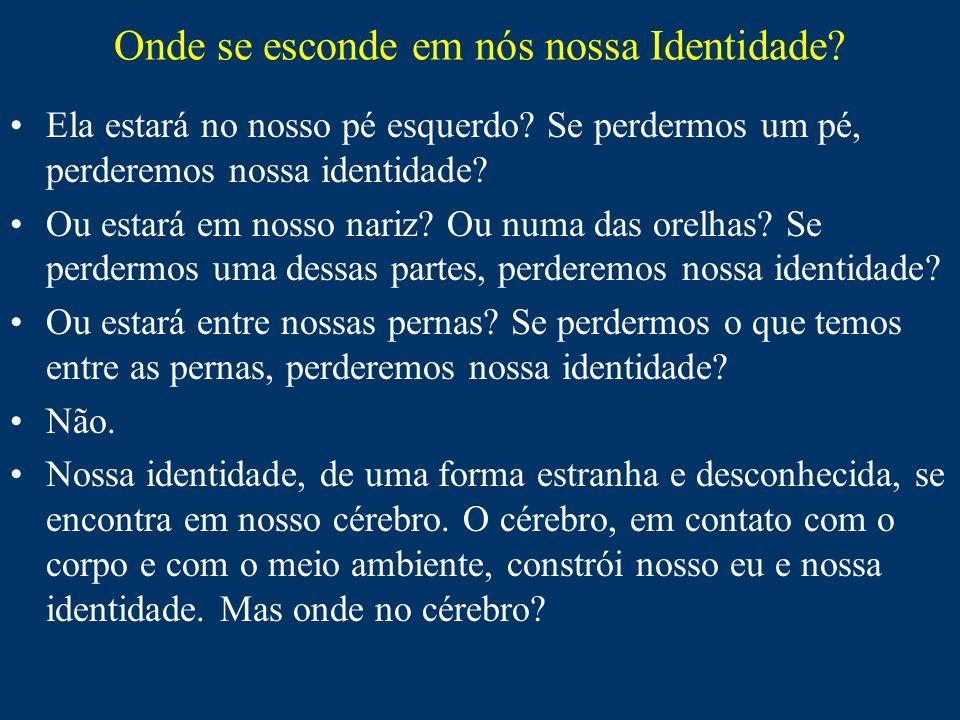 Onde se esconde em nós nossa Identidade? Ela estará no nosso pé esquerdo? Se perdermos um pé, perderemos nossa identidade? Ou estará em nosso nariz? O