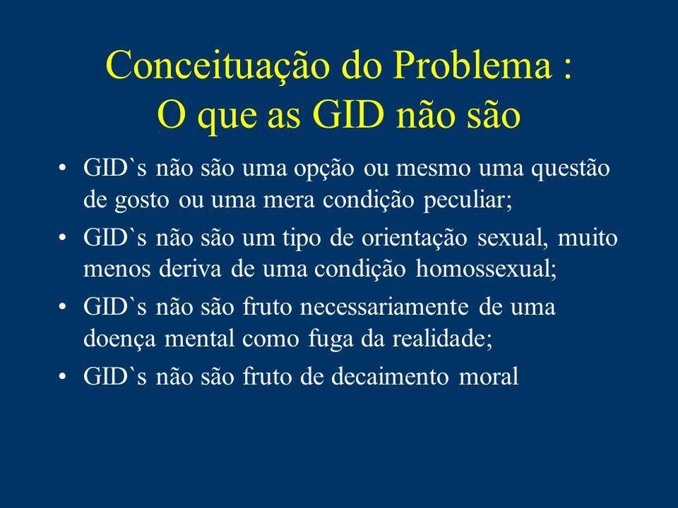 Ao contrário da Orientação Sexual homossexual, que diz respeito à relação entre pessoas, as GID`s dizem respeito à relação do ser consigo mesmo.