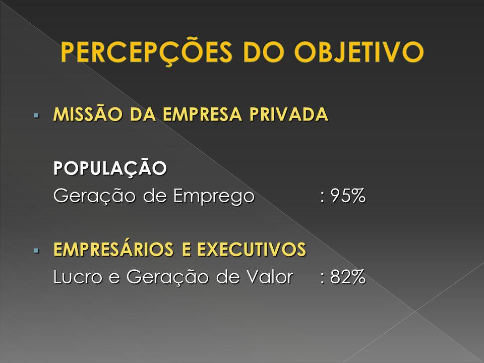 MISSÃO DA EMPRESA PRIVADA MISSÃO DA EMPRESA PRIVADAPOPULAÇÃO Geração de Emprego: 95% EMPRESÁRIOS E EXECUTIVOS EMPRESÁRIOS E EXECUTIVOS Lucro e Geração
