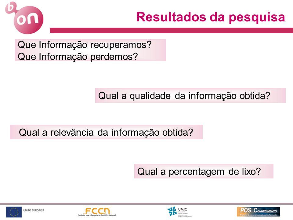 Que Informação recuperamos? Que Informação perdemos? Qual a qualidade da informação obtida? Resultados da pesquisa Qual a relevância da informação obt