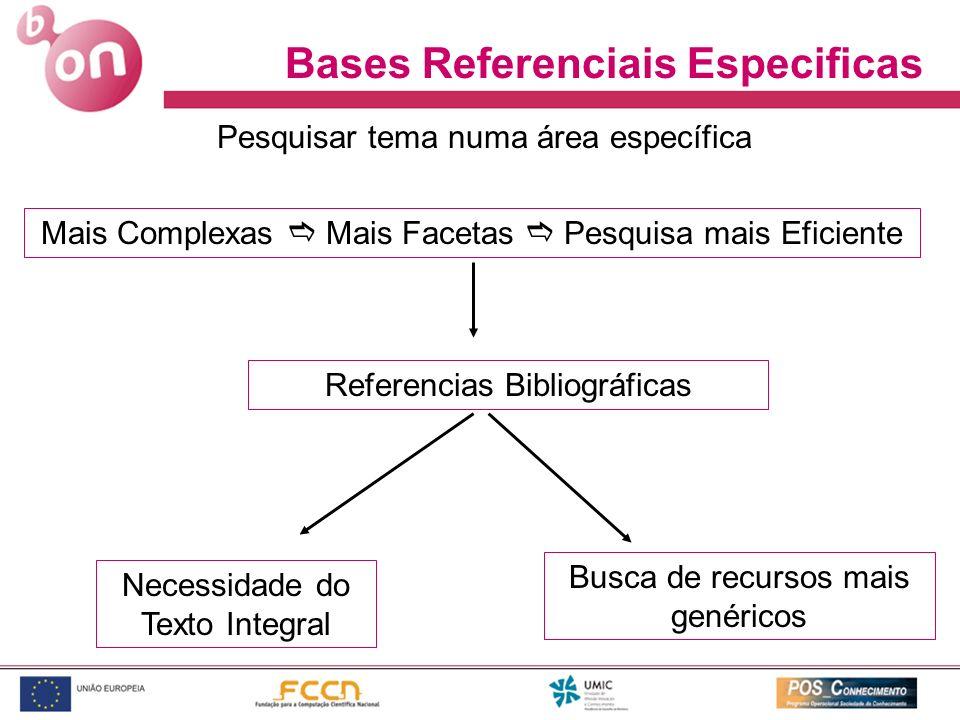 Bases Referenciais Especificas Mais Complexas Mais Facetas Pesquisa mais Eficiente Referencias Bibliográficas Necessidade do Texto Integral Busca de r