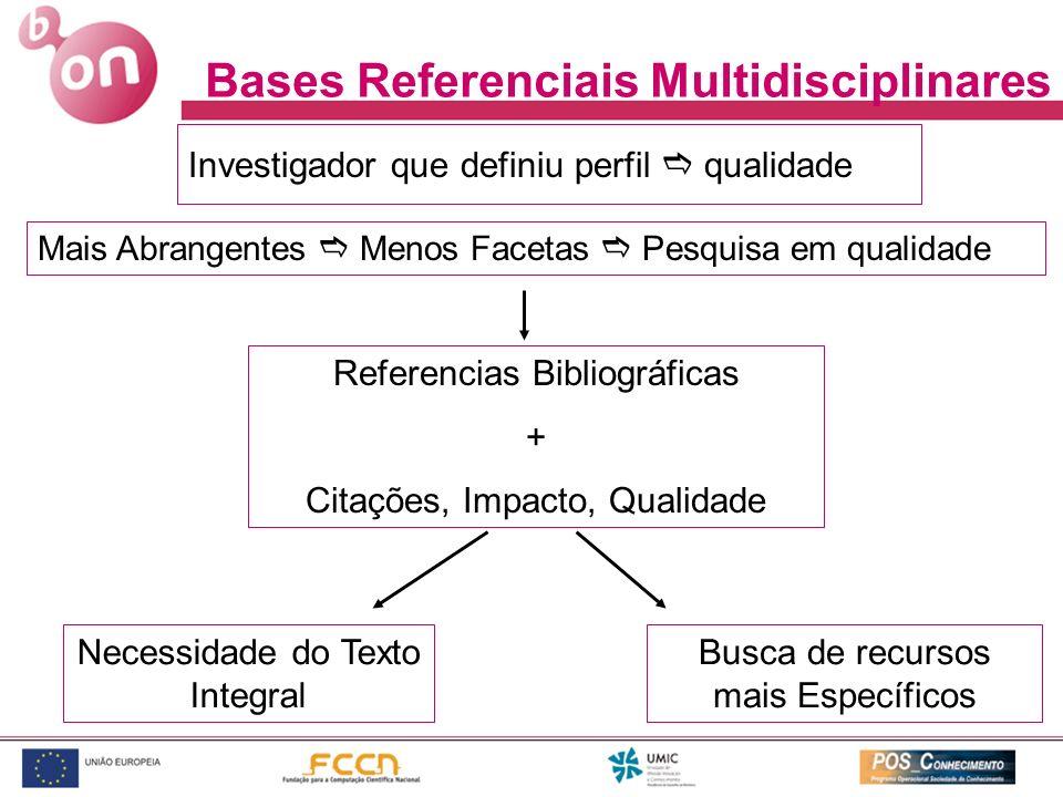Investigador que definiu perfil qualidade Mais Abrangentes Menos Facetas Pesquisa em qualidade Referencias Bibliográficas + Citações, Impacto, Qualida