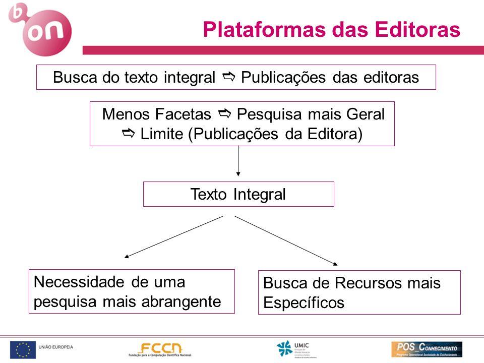 Plataformas das Editoras Menos Facetas Pesquisa mais Geral Limite (Publicações da Editora) Texto Integral Necessidade de uma pesquisa mais abrangente