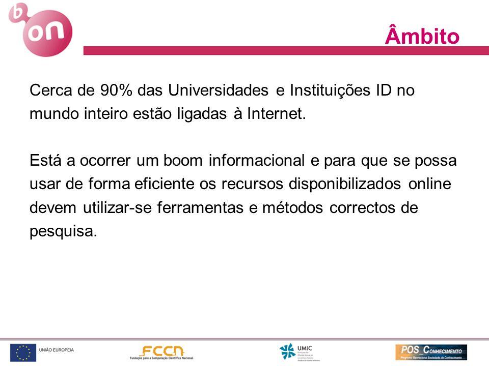 Âmbito Cerca de 90% das Universidades e Instituições ID no mundo inteiro estão ligadas à Internet. Está a ocorrer um boom informacional e para que se