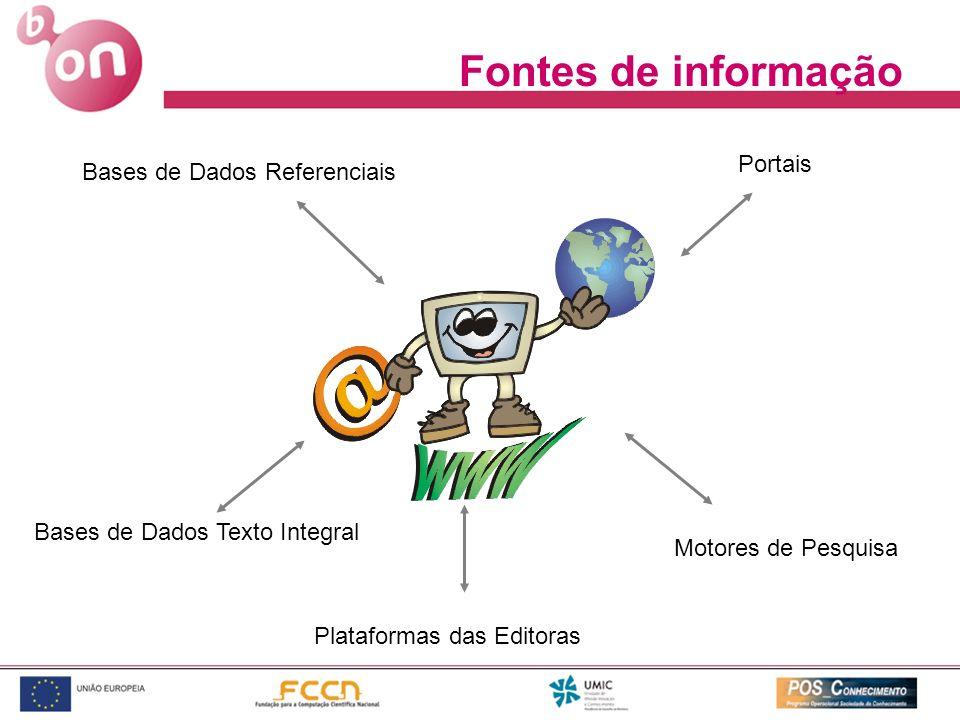 Motores de Pesquisa Portais Bases de Dados Texto Integral Bases de Dados Referenciais Plataformas das Editoras Fontes de informação